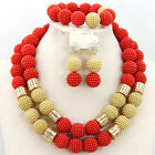 African Nigerian Costume Jewelry Set,Fashion Bridal Party Beads Nekcklace Set
