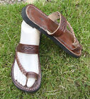 100% MOROCCAN LEATHER BEACH SANDALS * FLIP FLOPS  BROWN * 5 sizes available