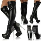 New Ladies Womens Sexy Diamante Over The Knee Thigh High Platform Heel Boots