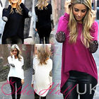 UK Women Summer Casual Long Sleeves Sexy Drape Back Tops Blouse Ladies Size6-14