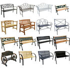 Garden Metal Wood Bench Outdoor Seating Cast Iron Rustic Patio 2 3 Seat Cushion