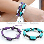 Mens Womens Purple Blue Genuine Leather Braided Surfer Bracelet Wristband Cuff