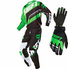 2016 Shift MX Mens Assault Gearset - Black/Green Motocross Kit Offroad Trail