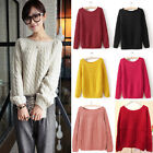 Women Casual Round Neck Long Sleeve Knitted Sweater Loose Knitwear Pullover Tops