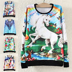 Fashion Women Horse Print Sweater Sweatshirt Hoodie Pullover Tops Tracksuit
