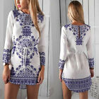 Fashion Women Blue Floral Long Sleeve Evening Party Club Short Mini Dress Casual