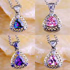 Gift Amethyst Rainbow & Pink Topaz Gemstone Silver Pendant Necklace Triangle Cut