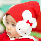 double rabbit cap Infant Baby wool knit hat thickened sleeve head various styles