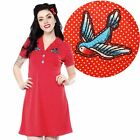 Sourpuss Rosie Songbird Dress Retro Pin Up Rockabilly Polka Dot Tattoo Swallow