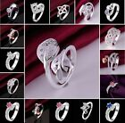 Fashion 925 Sterling Silver SP Zircon Crystal Women's Ring Gift USA Size 8