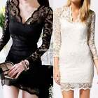 Womens Ladies V-Neck Lace Bodycon Cocktail Evening Party Short Mini Dress N98B