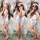 2PCS Girl Baby Summer Vest Top Outfits + Denim Jeans Hot Pants Kid Clothes 2-9Y