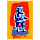 Robot ST1 Tin Toy Wall Decal Sci-Fi Vintage Style Geek Decor