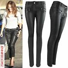 WOMEN LADIES BLACK PU ZIPS JEANS LEATHER WET LOOK SKINNY STRETCH FIT TROUSER