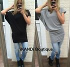 New Ladies Long Loose Oversized Asymmetric Batwing Top Blouse Tunic Ruched Dress