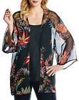 Anthology @ Marisota Sheer BLACK Print Lightweight Kimono Top Sizes 14 to 22