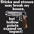 """STICKS & STONES"" T-Shirt - SIZE XL 2nd Amendment-PROTEST AR15 AK47 GLOCK  1911"