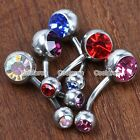 1pc Steel 14G Czech Crystal Ball Belly Button Navel Rings Body Piercing Jewelry