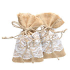 12/24/60PCS Rustic Burlap Lace Gift Bags Jewelry Candy Pouches Wedding Favors
