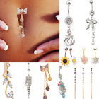 Cool Crystal CZ Navel Ring Dangle Belly Button Bar Ring Body Piercing Jewelry