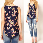 LADY CUTE PRETTY BUTTERFLY PRINT CHIFFON BLOUSE SLEEVELESS T-SHIRT VEST TANK TOP