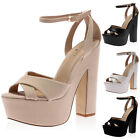 NEW LADIES STRAPPY BLOCK HIGH HEEL WOMENS CUT OUT CHUNKY PLATFORM SHOES SIZE 3-7