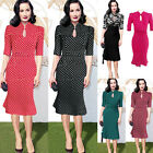 Vintage Style 50s 40s Rockabilly Office Pencil Wiggle Pinup Party Retro Dress