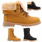 Womens ladies flat lace up fur lined combat winter ankle work boots shoes size