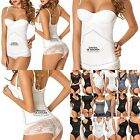 Moldeate 2073 White Open Bust Waist Shaper With Lace Bottoms - Size Large
