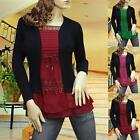 GREEN/RED/PINK TIERED LACE CARDIGAN KNIT LONG SLEEVE BLOUSE TOP 1857 SIZE M L XL