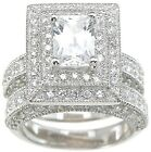 2Pc 2.5Ct Emerald Pave Round Wedding Engagement Ring Set Antique Style