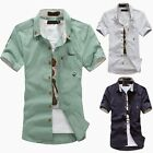 Fashion Men's Designer Short Sleeve Casual Dress Shirt Slim Fit T Shirt Tops Tee