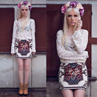 US 4 - 12 Floral Lace Beach Bikini Cover Up Womens Hollow Tops T Shirt Tunica