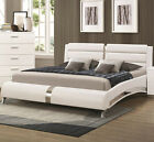 NEW KILLIAN MODERN WHITE or BLACK LEATHERETTE CHROME QUEEN or KING PLATFORM BED