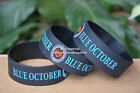 """BLUE OCTOBER Silicone 1"""" Wide Debossed Filled in Colour Wristband Bracelet"""