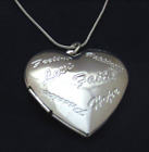 925 Sterling Silver Faith Love Hope Heart Locket Necklace Photo Snake Chain