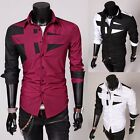 Fashion Slim Fit Mens Long Sleeve Button Down Irregular Casual Dress Shirt Tops