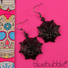 FUNKY SPIDER WEB EARRINGS HALLOWEEN SCARY GOTHIC EMO FANCY DRESS VAMP KITSCH FUN