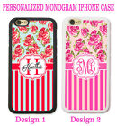 SHABBY CHIC RED PINK ROSE Slash MONOGRAM PHONE Case Cover For iPhone 8 7 6 SE 5