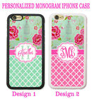 SHABBY CHIC MINT PINK MOROCCAN FLORAL MONOGRAM PHONE Case For iPhone 6S 6 5S SE