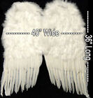 "Huge 36"" Large White Feather Wings Angel Halo Halloween Costume 1 DAY SHIPPING"