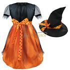 New Girl Mesh Cover Witch Hat Cosplay Costume Child Halloween Fancy Dress Outfit