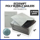 "1-9000 #0 6x10 ""EcoSwift"" Poly Bubble Mailers Padded Envelope Bags 6"" x 10"""