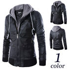 Men's Double Collar Hoodie Fashion Leather Motorcycle zipper Coats Jackets PL006