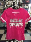 Dallas Cowboys Women Ladies Pink Glitter Practice Top Tee T Shirt