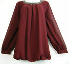 BEAUTIFUL L/SLEEVE LINED 100% POLYESTER TOP WITH BEADED NECKLINE PLUS SIZES16-30