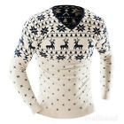 Fashion Christmas Mens Jumper Shirt Pullover Knitted Reindeer Sweater Blouse