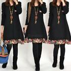 Women 's Autumn Winter Floral Pieced Loose Casual Pullover WarmSkirt Dress F36