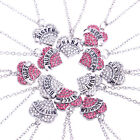 Family Gifts Crystal Love Heart Pendant Rhinestone Necklace Chain Charm Jewelry