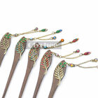 Women Hair Stick Pin Wood Handmade Crystal Rhinestone Leaf Hair Accessories 1 Pc